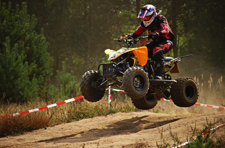 ATV jumping on the race road