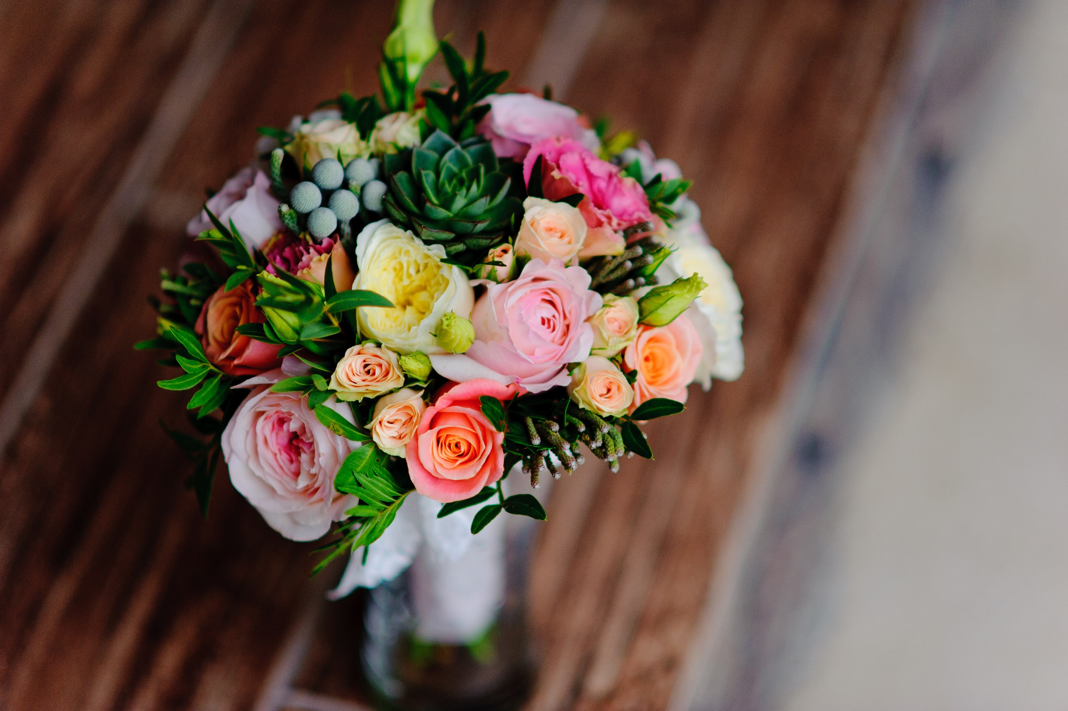 bouquet of fresh flowers, white and pink roses