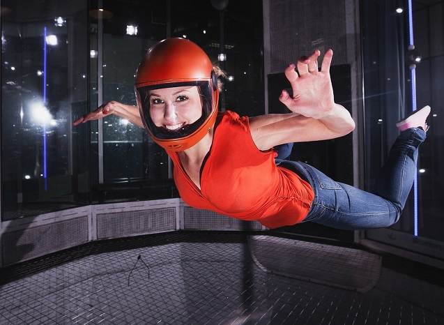 Body flight in the wind turbine, indoor skydiving